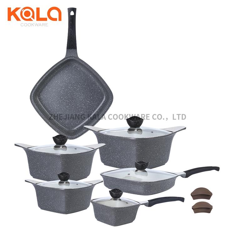 saute pan shallow casserole dish with lid marble ceramic coating cooking pots set cast aluminum casserole 24cm factory