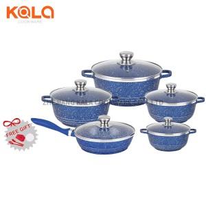 Dessini 15pcs set de casserole aluminium revêtement marbre cooking fry pan and casserole set kitchen accessories set cookware