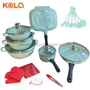 Dessini 23pcs casseroles aluminium series african fry pan cooking pots non stick marble coated kitchen accessories cookware set