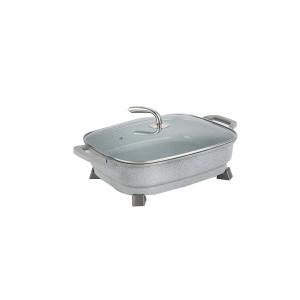Special Price for Bake Pot - 32*38cm Double Heating Tube Rectangle Non-Stick Electric Pan Pot Stone Color – KALA