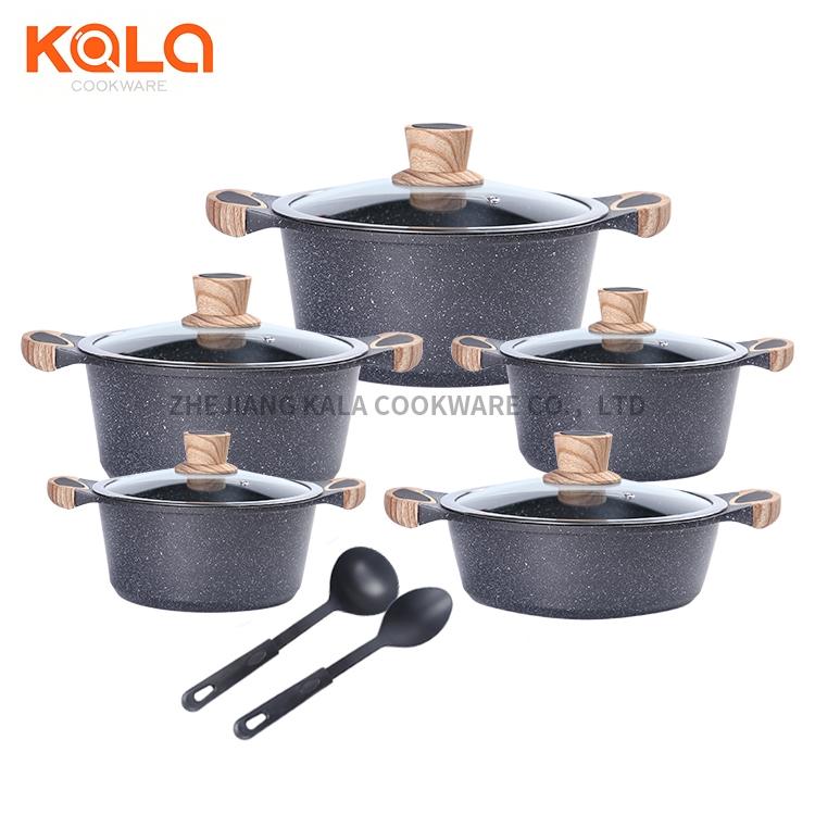 casserol en aluminium de fabriqu factory marble cooking pots set kitchen accessories aluminum cookware set non-stick casserole