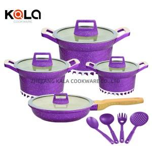 marble cooking pot set ketchen tools cookware sets &non-stick fry pan 12pcs soup pan cooking &skillet for houseware