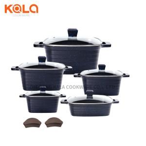 10pcs hotpot cast aluminium casserole square professional cookware set kitchenware italian marble cooking pots set factory