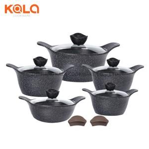 shallow casserole and casserole set ceramic coating with glass lid cast aluminum cookware set non-stick cooking pots set