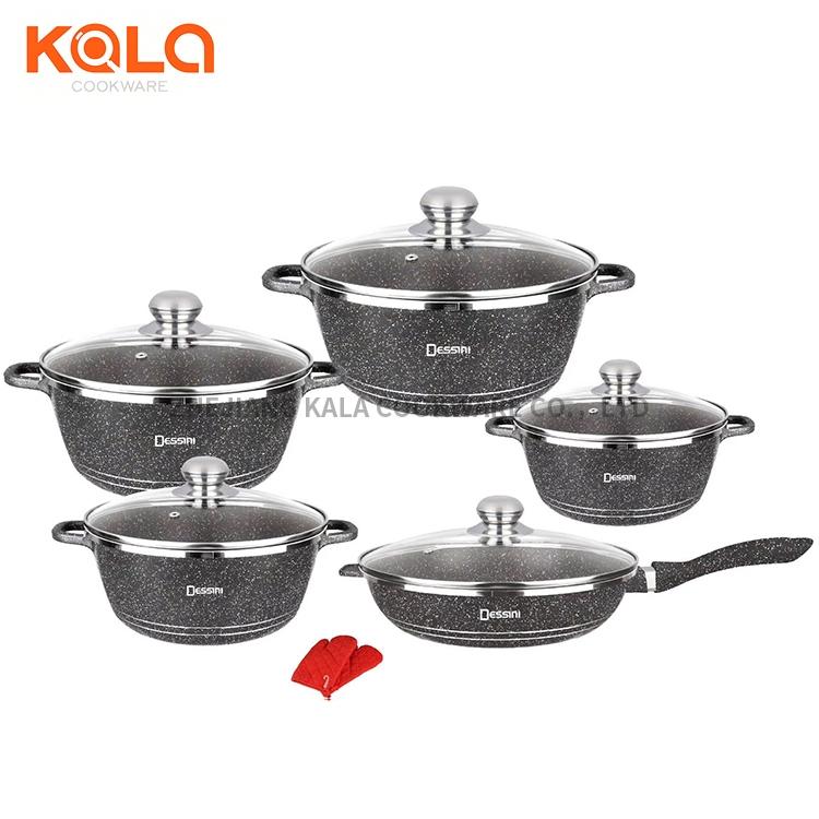 Dessini 12pcs cooking fry pan and casserole set pink non stick cooking pot kitchen accessories aluminum cookware set factory Featured Image