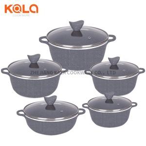 kitchen aluminum insulated ensemble casserole set korean cooking pot marble cookware sets german casseroles factory