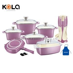 cast aluminium casserole square professional cookware set kitchenware 10pcs italian marble cooking pots set factory
