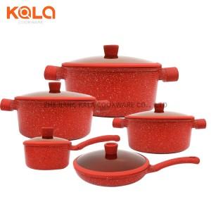 10pcs with glass lids cast aluminium pot round casserole set luxury cooking pot marbel cookware set steak frying pan factory