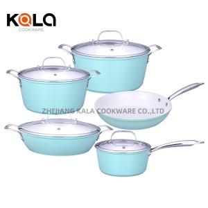 9pcs ceramics cooking cookware set non stick glass lid kitchen items multipurpose fry pan italian cooking pots manufacturers