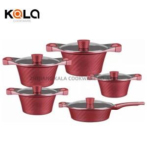 dessini 10pcs open flame cooking pot set Soup & Stock Pots with frying pan non stick cookware set sartenes &grill pan for kichen
