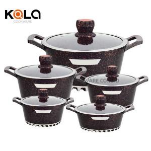 Customize casserol set de casserole aluminium revetement marbre 10pcs luxury cookware set manufacturer big cooking pot