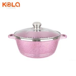 Dessini 12pcs cooking fry pan and casserole set pink non stick cooking pot kitchen accessories aluminum cookware set factory