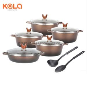 12pcs shallow and big casserole set kitchen accessories aluminum cookware set pyrex marble non-stick cooking pot manufacturers