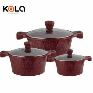 High Quality marbel non stick cookware set casseroles serie de cooking fry pan and casserole set soup pan zhejiang cookware