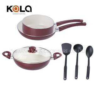 ceramic coating casseroles and frying pan set kitchen accessories aluminum cookware set non-stick ceramic cooking pot set facto