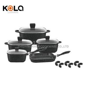 square non stick cookware set with frying pan aluminum cast casserole Cookware Parts kitchen ware kitchen supplies wholesale