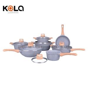 good selling marble non stick cookware set wok kitchen equipment customize cast aluminium cooking pots factory manufacturers