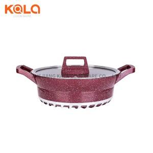 bosch cast aluminum marble non-stick coating pots set Customized cookware spaghetti casserole china cooking pot factory