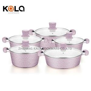 cast aluminum casserole high quality induction cooking pots marbel cookware set stock zhejiang factory