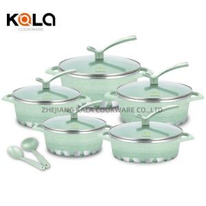 cooking pot set non stick cookware set kitchenware marbel die cast aluminium Soup & Stock Pots with 2pcs kitchen tools
