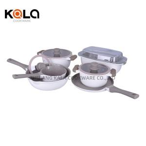 10pcs high quality mable cooking pots multipurpose pizza pan non stick wok cook ware set manufacturer casserole de luxe zhejian